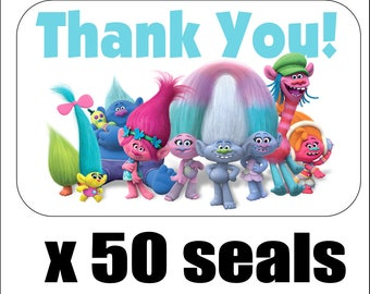 """50 Trolls Thank You Envelope Seals / Labels / Stickers, 1"""" by 1.5"""""""
