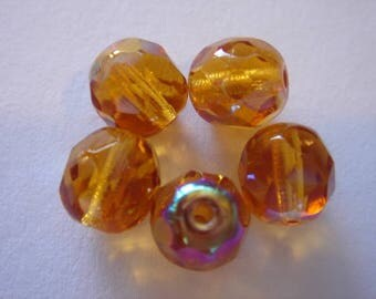 Bohemian crystal beads faceted 8 mm TOPAZ AB