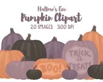 "Pumpkin Clipart - 20 Hi Res PNG Files - ""Hallow's Eve"" Color Palette - Pumpkin Images Perfect for Halloween"