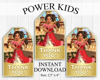 50% OFF SALE INSTANT Download Elena of Avalor Thank You Tags, Favor Tags, Party Favors, Printable Diy