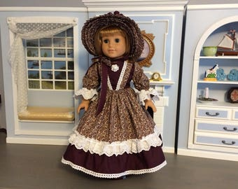 "18"" American Girl Doll, Civil War Era Dress and MHD Hat"