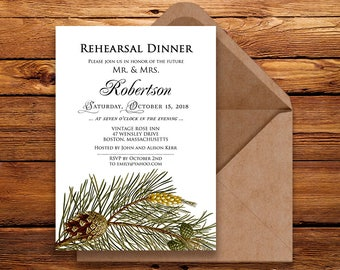 Forest Rehearsal Dinner Invitation Printable Winter Wedding Rehearsal Invitation Rustic Green Pine Tree Christmas Rehearsal Wedding Invite