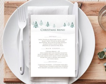 Christmas Menu Template Winter Forest Wedding Menu Holiday Menu Printable Xmas Menu Cards Woodland Menu Christmas Party Green White Editable
