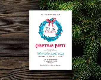 Tis the Season Christmas Party Invitation Winter Holiday Invitation Printable Party Invite Template Holly Wreath Christmas Dinner Invitation