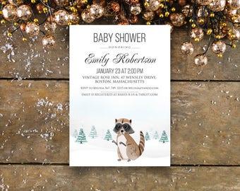 Woodland Baby Shower Printable Invitation Raccoon Invitation Winter Raccoon Baby Shower Invite Forest Animal Baby Shower Invitation Editable
