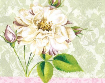2 paper napkins rose and Bud (331)