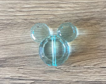 Pearl acrylic Mickey or Minnie - TURQUOISE clear mouse head