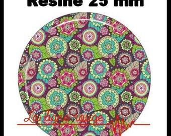 Round cabochon resin 25 mm - flower paste (2232) - floral, nature, bouquet
