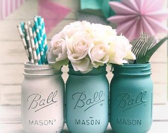 Party jars: white, light blue, sea foam (turquoise) | chalk paint, Mason jar decor, party straws, party favor, hostess gift, distressed jar,