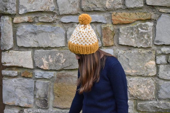 Fair Isle Chunky Knit Pom Pom Beanie Fisherman and Mustard