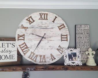 Large Rustic Farmhouse Reclaimed Wood Wall Clock