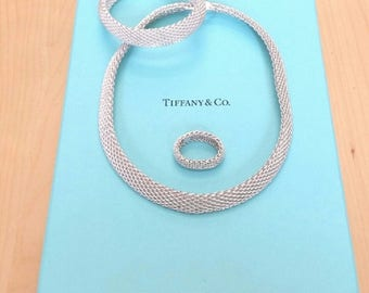 Tiffany & co Somerset mesh Necklace, Bracelet and Ring set sterling silver with Tiffany box