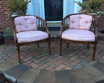 Hollywood Regency spindle barrel cane tufted back parlor chairs