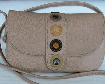 Beige calf leather shoulder bag