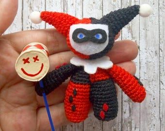 Classic Harley Quinn Toy DC, Crochet Amigurumi Plushie Toy Gift, Suicide Squad