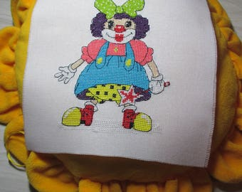 """Femme clown"" embroidery piece"