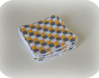 Washable cotton cloth yellow grey and white