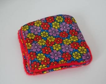 Blue floral cotton washable cloth red fleece lining
