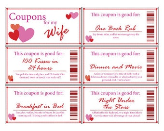 Wife Coupon Book | Printable | Digital | Stocking Stuffer | Valentine's Day | Romance | Anniversary | Gift | Wife | Love
