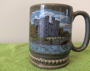Vintage Irish Wade/ Porcelain Bunratty Castle Green Loving Cup/coffee Mug