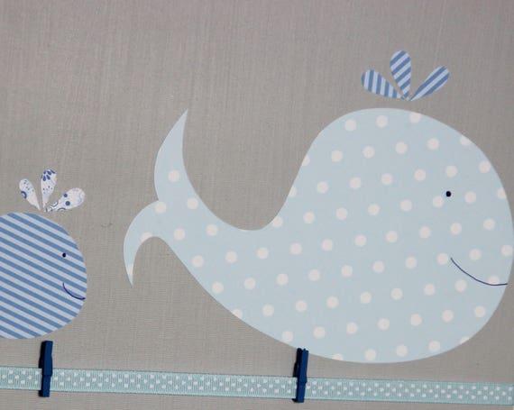 P le m le photos gris baleines bleues 40x50 cadeau de for Pele mele chambre garcon