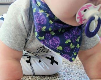 Navy and Purple Roses Bib - Floral Drool Bib - Cotton and Terry Bibdanna - Adjustable - Girls Bib - Dribble Bib - MADE TO ORDER