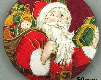 Button fabric - Father Christmas - Santa Claus - 50mm - (50-07)