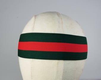 Gucci inspired headband, Gucci women headband, Gucci headband, Gucci Headband Designer, Plain Headband Green & Red Strap, holiday headband