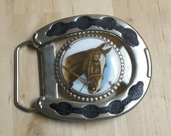 Horseshoe and Horse Belt Buckle