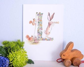 Hand illustrated nursery print - Letter L