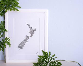 Travel and adventure - map of New Zealand calligraphy print