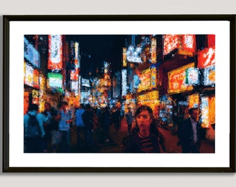 Asian Crowdy Street, painting, wall, print, decorative, home, office, restaurant, decor, apartment, art, illustration, picture, image, color