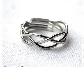 Alliance Bague Anneau Elfique ajustable argent massif pour homme ou femme; bijoux mariage bague de créateur; bijou