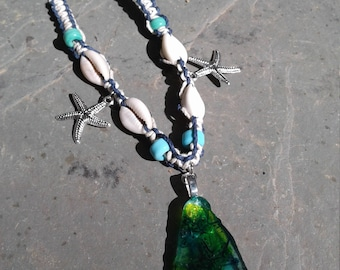 Beach glass painted pendant necklace