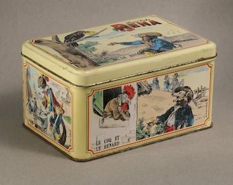 Vintage candy / cookies tin LITTLE BOX Fables of Jean de la Fontaine FOX