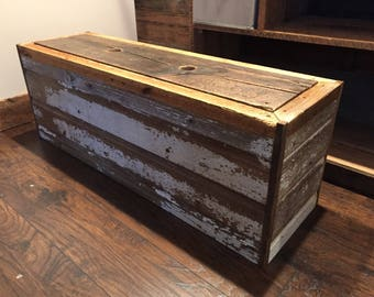 Reclaimed Barnwood Entry Bench with Storage