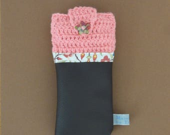 Phone bi-material - wool old Rose/faux leather