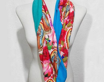 Virgen de Guadalupe Infinity Scarf, Virgin Mary, Our Lady of Guadalupe Scarf