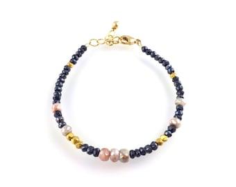 Pink Silverite and Pyrite Gemstone Beaded Bracelet, Stacking Bracelet, Multi Gemstone, Boho Style Boutique Jewelry, Artisan Handcrafted