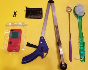 Rotator Cuff Comfort Kit w/Key Ring, Back Scratcher, Grabber, Leather ID Purse