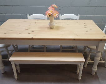 Shabby Chic 6ft Farmhouse table /bench set