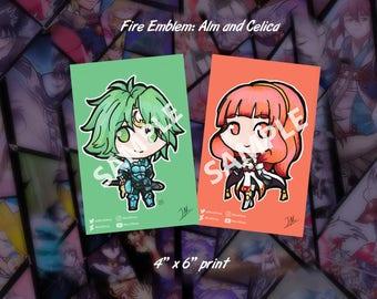 "Fire Emblem: Alm and Celica 4"" x 6"" print"