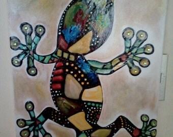 Colorful Decorative Iguana box/iguana colorfull decorative Painting
