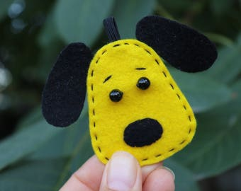 Felt toy yellow dog holiday decor ornament Personalized gift easter Kawaii soft replica toy