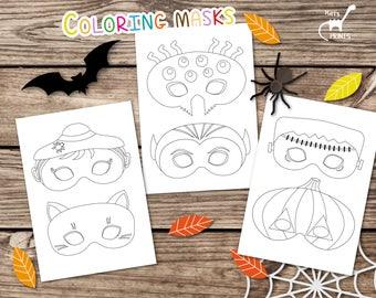 Halloween Masks Printable Coloring Mask Activity