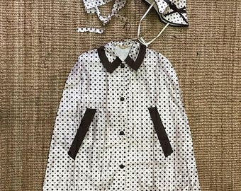 Price Reduced!!  1960's Vinyl Brown Polka Dot Rain Set.  Cape, Hat, and Scarf.