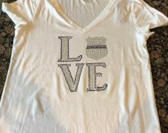Thin Blue Line BLING LOVE V-Neck T-Shirt