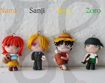 Necklace with Japanese-style Doll (mini chibi): ONE PIECE