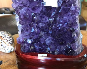 Amethyst Cluster Crystal Druzy Premium Queen Grade Amazonian River Bed 1.8KG Free Standing Wooden Base