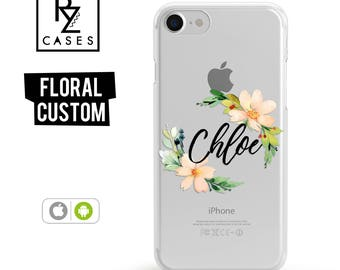 Personalized Case, Floral Custom Case, Floral Phone Case, iPhone 7 Case, iPhone 6s, Floral iPhone, iPhone 5, iPhone 6 Plus, Samsung Galaxy